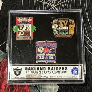 NEW OAKLAND RAIDERS 3 SUPER BOWL CHAMPIONS PIN SET